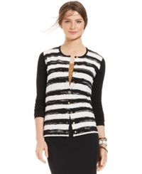 August Silk Long Sleeve Striped Cardigan Black White