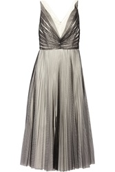 Mikael Aghal Pleated Two Tone Tulle Gown Gray