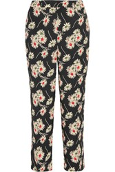 Prada Cropped Floral Print Crepe Wide Leg Pants Black
