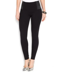 Bar Iii Elastic Inset Ponte Knit Leggings Deep Black