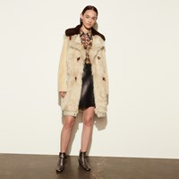 Coach White Mix Shearling Coat Vintage White