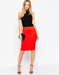 Asos High Waisted Pencil Skirt Red
