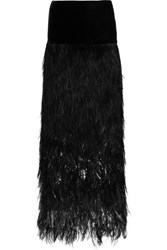 Tom Ford Velvet And Tiered Ombre Feather Maxi Skirt Black