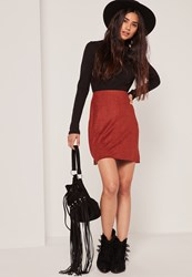 Missguided Burgundy Faux Suede Stitch Front A Line Mini Skirt