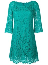 Dolce And Gabbana Floral Lace Fitted Dress Green