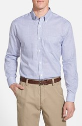 Cutter And Buck Men's 'Epic Easy Care' Classic Fit Wrinkle Free Tattersall Plaid Sport Shirt French Blue