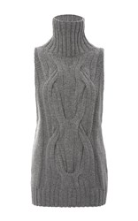 Sally Lapointe Cashmere Cableknit Sleeveless Turtleneck Sweater Light Grey