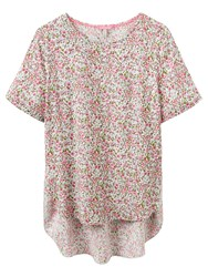 Joules May Floral Print Top Pink Ditsy