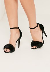 Missguided Black Fluffy Vamp Strap Barely There Heeled Sandals