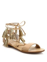 Loeffler Randall Saffron Tasseled Leather Lace Up Sandals Wheat Gold