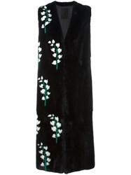 Liska Sleeveless Floral Print Coat Black