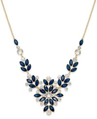 Charter Club Gold Tone Blue And Clear Crystal Statement Necklace Only At Macy's