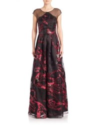 Kay Unger Silk Pleated Ball Gown Black Pink