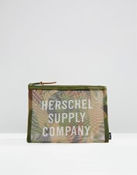 Herschel Supply Co Network Large Camo Mesh Pouch Woodland Camo Multi