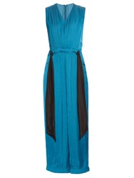Cedric Charlier Gathered Waist Straight Leg Satin Jumpsuit Mid Blue