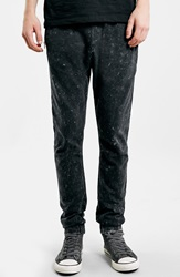Topman Acid Wash Knit Jogger Pants Black