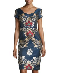 Carolina Herrera Short Sleeve Brocade Dress Open Blue