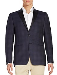 Calvin Klein Satin Lapel Plaid Wool Jacket Navy
