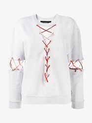 Filles A Papa Sweatshirt With Lace Detailing Grey Multi Coloured Mint