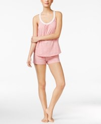 Lucky Brand Lace Trimmed Racerback Top And Shorts Pajama Set Pink Mdot