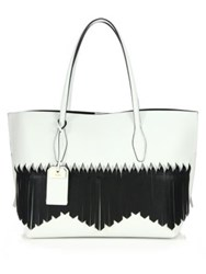 Tod's Joy Medium Two Tone Fringed Leather And Nubuck Tote