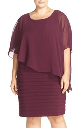 Plus Size Women's Adrianna Papell Chiffon Overlay Shutter Pleat Sheath Dress Cassis