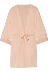 Mimi Holliday By Damaris Every Yours Lace Trimmed Silk Robe Neutral