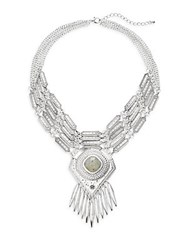 Punch Layered Statement Necklace Silver