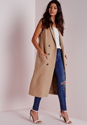 Missguided Double Breasted Sleeveless Wool Maxi Coat Camel