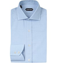 Tom Ford Houndstooth Slim Fit Cotton Shirt Blue