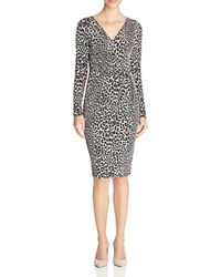 Michael Michael Kors Leopard Print Faux Wrap Dress Black