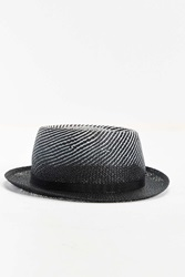 Bailey Of Hollywood Davos Gradient Straw Fedora Hat Black And White