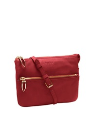 Tusk Donington Leather Double Gusset East West Bag Red
