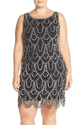 Plus Size Women's Pisarro Nights Beaded Sheath Dress Black Silver
