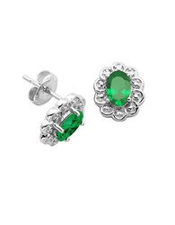 Lord And Taylor Emerald Cubic Zirconia And Sterling Silver Stud Earrings Green