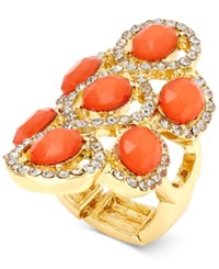 Inc International Concepts Gold Tone Blush Stone And Pave Chandelier Stretch Ring Only At Macy's
