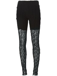 Lost And Found Panelled Lace Leggings Black