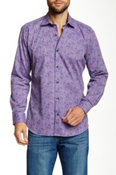 Jared Lang Long Sleeve Floral Print Semi Fitted Shirt Purple