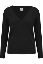 Madeleine Thompson Ribbed Cashmere Sweater Black