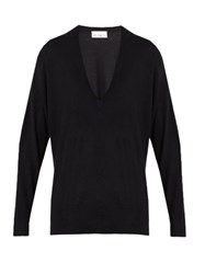 Raey V Neck Fine Knit Cashmere Sweater Navy