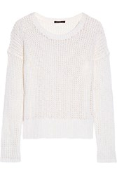 James Perse Open Knit Cotton And Linen Blend Sweater White