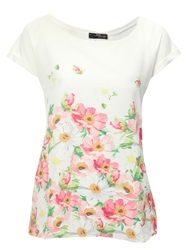 Jane Norman Woven Front Flower Print Tshirt White