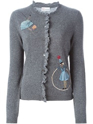 Red Valentino Embroidered Sequin Doll Cardigan Grey