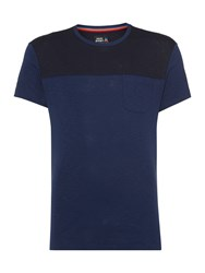 Army And Navy Wesley Contrast Panel T Shirt Navy
