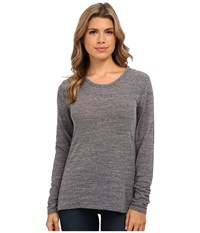Michael Stars Chelsea Triblend Long Sleeve Crew Neck Heather Grey Women's Long Sleeve Pullover Gray