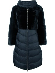 Liska Mink Fur Panel Puffer Coat Black