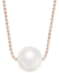 Macy's Cultured Freshwater Pearl 10Mm Floating Pendant Necklace In 14K Rose Gold Plated Sterling Silver
