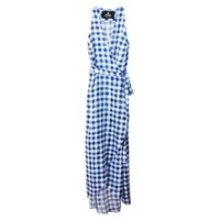 Etrala London Gingham Wrap Maxi Dress Blue