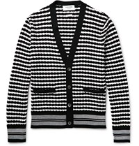 Thom Browne Striped Textured Cotton Cardigan Midnight Blue