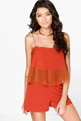 Boohoo Crochet Trim Swing Playsuit Rust